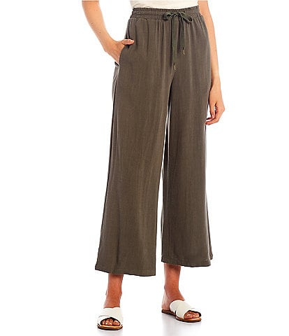 Coco + Jaimeson Elastic-Waist Tie-Front Solid Knit Flare Pants