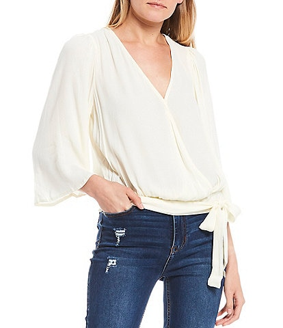 Coco + Jaimeson Flutter Sleeve Side Tie Wrap Top