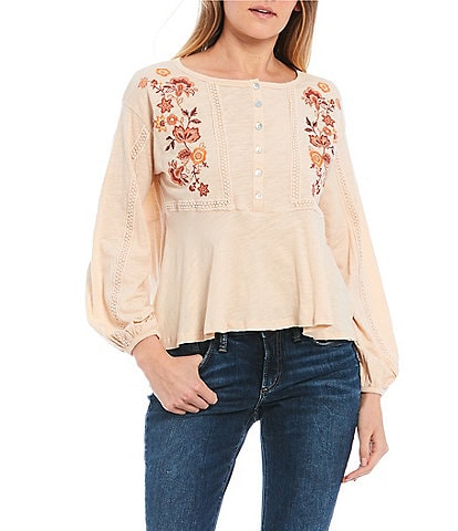 Coco + Jaimeson Long-Balloon-Sleeve Floral Embroidered Knit Top