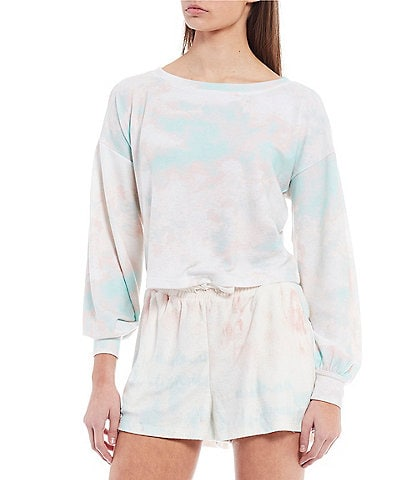 Coco + Jaimeson Long Puff Sleeve Tie-Dyed Hacci Top