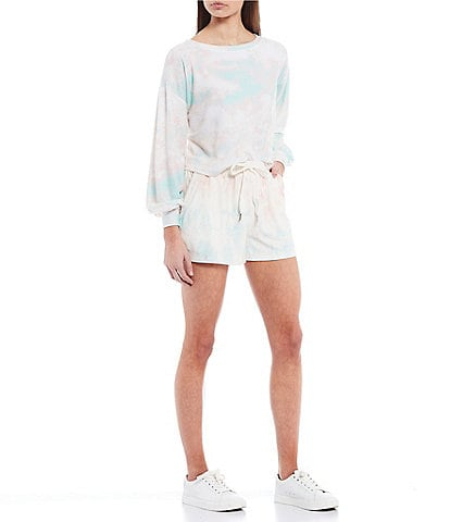Coco + Jaimeson Coordinating Long Puff Sleeve Tie-Dyed Hacci Top