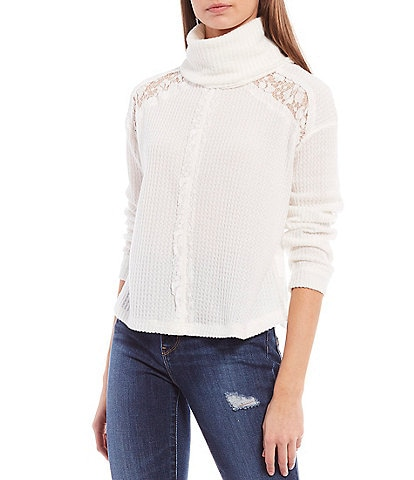 Coco + Jaimeson Long-Sleeve Cowl-Neck Lace Mix Thermal Top
