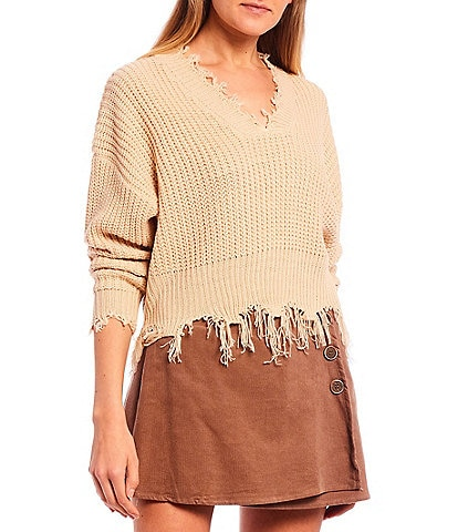 Coco + Jaimeson Long Sleeve Destructed Fringe Sweater
