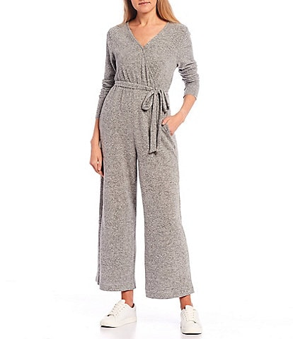 Coco + Jaimeson Long Sleeve Faux-Wrap Wide Leg Lounge Jumpsuit