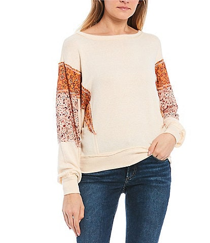 Coco + Jaimeson Long-Sleeve Mix Print Sweatshirt