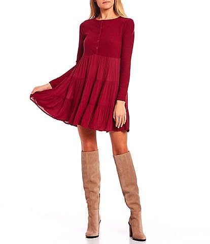 Coco + Jaimeson Long Sleeve Rib Knit Bodice Tiered Dress