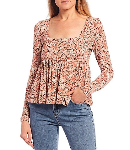 Coco + Jaimeson Long Sleeve Square Neck Floral Print Babydoll Top