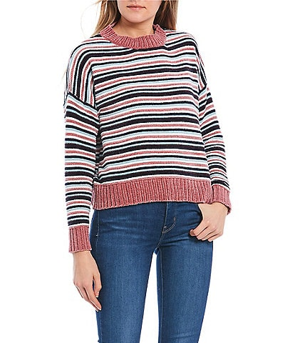 Coco + Jaimeson Long-Sleeve Striped Chenille Sweater
