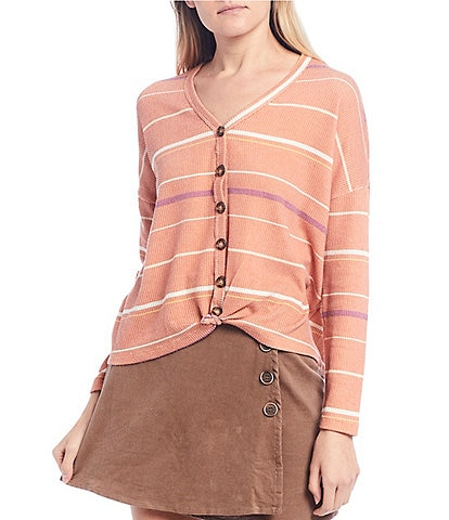 Coco + Jaimeson Long-Sleeve Striped Tie-Front Cardigan Top
