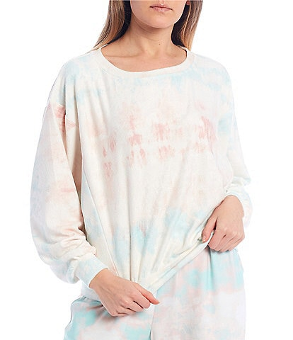 Coco + Jaimeson Long-Sleeve Tie-Dyed Terry Knit Top