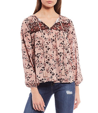 Coco + Jaimeson Long-Sleeve Tie-Tassel Mixed Floral Printed Top
