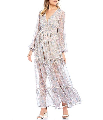Coco + Jaimeson Long-Sleeve V-Neck Ditsy Print Tiered Maxi Dress