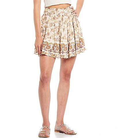 Coco + Jaimeson Coordinating Mid-Rise Smocked-Waist Border Printed Tiered Mini Skirt