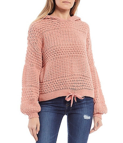 Coco + Jaimeson Mixed Open Stitch Drawstring Hem Knit Hoodie Sweater