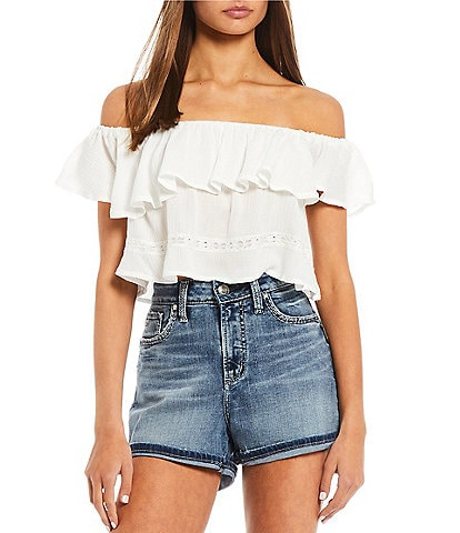 Coco + Jaimeson Off-The-Shoulder Lace Inset Top