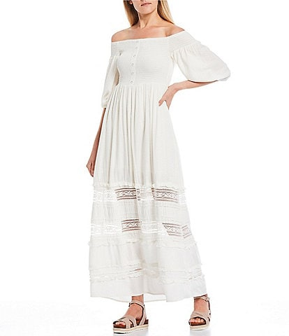Coco + Jaimeson Off-The-Shoulder Smocked Bodice Maxi Dress