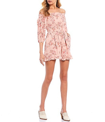 Coco + Jaimeson Off The Shoulder Smocked Floral Print Romper