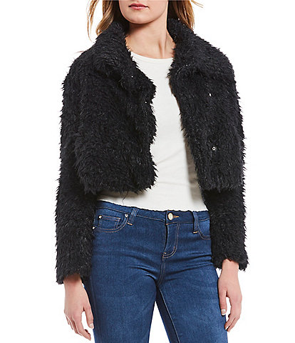 Coco + Jaimeson Shaggy Western Cozy Crop Teddy Jacket