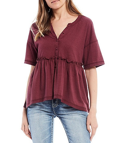 Coco + Jaimeson Short-Sleeve Button-Front Knit Babydoll Top
