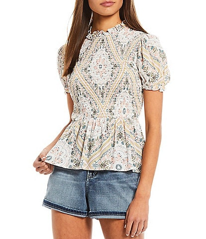 Coco + Jaimeson Short Sleeve Scarf Printed Smocked Top