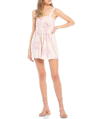 Coco + Jaimeson Sleeveless Smocked Front Floral Print Knit Romper