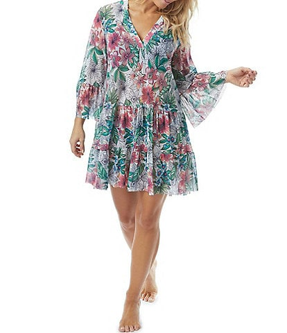 Coco Reef Aloha Allure Enchant V-Neck Bell Sleeve Cover Up Dress