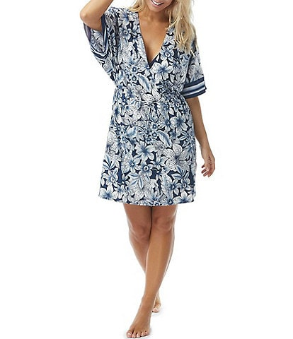 Coco Reef Botanical Oasis Luxe V-Neck Kimono Sleeve Cover Up Dress