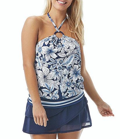 Coco Reef Botanical Oasis Maven High Neck Bra Sized Tankini Swimsuit Top & Classic Solids Mesh Layer Skort Swimsuit Bottom