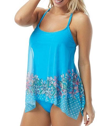 Coco Reef Tropical Spot Current Bra Sized Mesh Tankini Swimsuit Top & Classic Solids Side Shirred Bikini Bottom