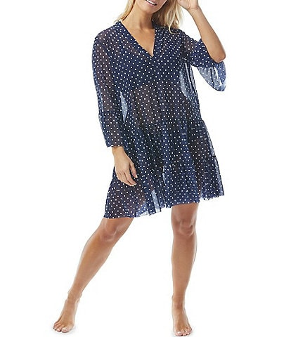 Coco Reef Tropical Spot Enchant V-Neck Bell Sleeve Cover Up Dress