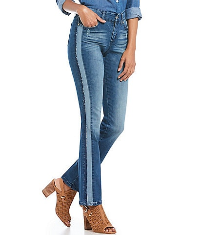 Code Bleu Chelsea Straight Leg Side Seam Two Tone Piecing Detail Jeans