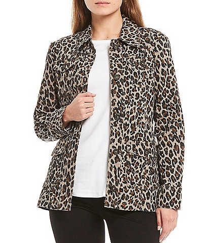 Code Bleu Leopard Print Cargo Pocket Denim Jacket