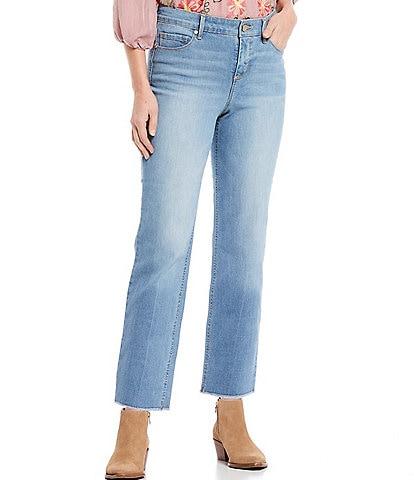 Code Bleu Petite Size High Rise Straight Leg Fray Hem Ankle Jeans