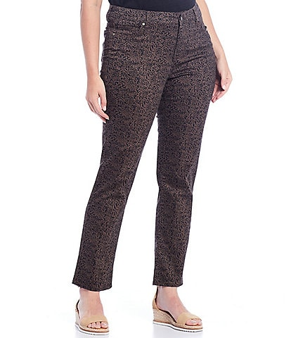 Code Bleu Plus Size Chelsea Ditsy Mixed Animal Print Straight Leg Jeans