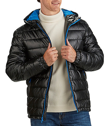 Cole Haan Faux-Leather Faux-Down Puffer Coat