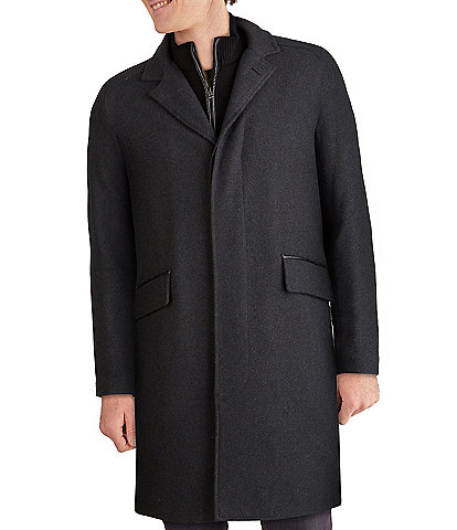 Cole Haan Faux Leather Trim Knit-Bib Wool/Twill Coat
