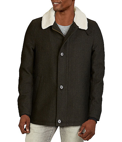 Cole Haan Sherpa-Collar Wool-Blend Jacket