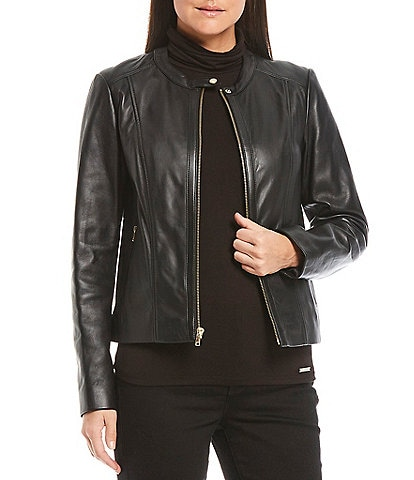Cole Haan Genuine Leather Zip Front Moto Jacket