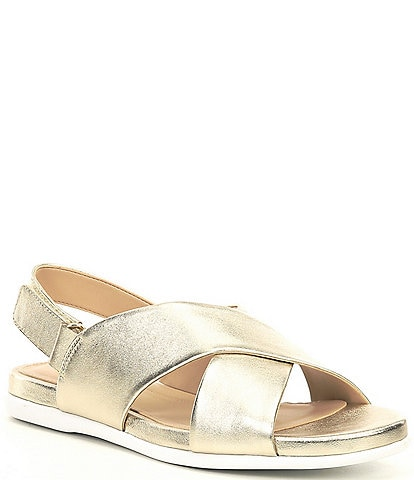 Cole Haan Grand Ambition Metallic Leather Flat Sandals
