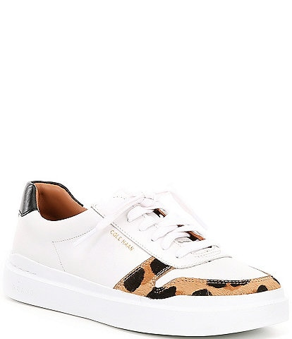 Cole Haan Grandpro Rally Court Leather and Jaguar Print Calf Hair Sneakers