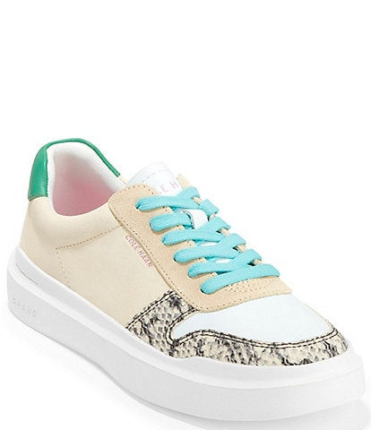 Cole Haan Grandpro Rally Court Leather Snake Print Color Block Lace-Up Sneakers