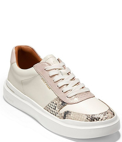 Cole Haan Grandpro Rally Court Snake Print Detail Leather Lace-Up Sneakers