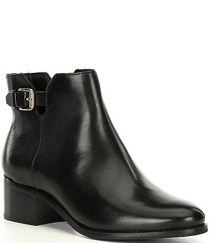 Cole Haan Haidyn Leather Buckle Detail Block Heel Booties
