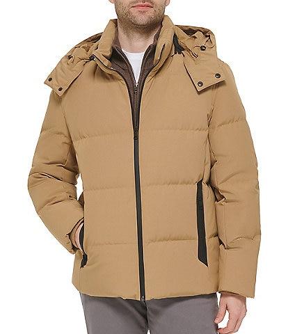 Cole Haan Hooded Down Zip Front Puffer Jacket