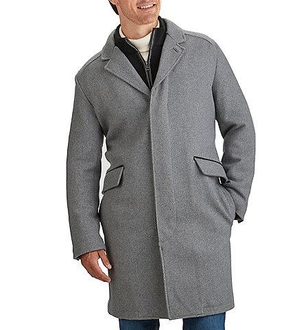 Cole Haan Knit-Bib Wool-Blend Long Button Front Coat