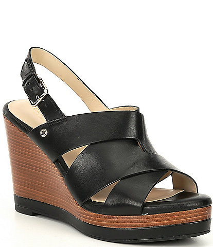 Cole Haan Laci Leather Platform Wedge Sandals