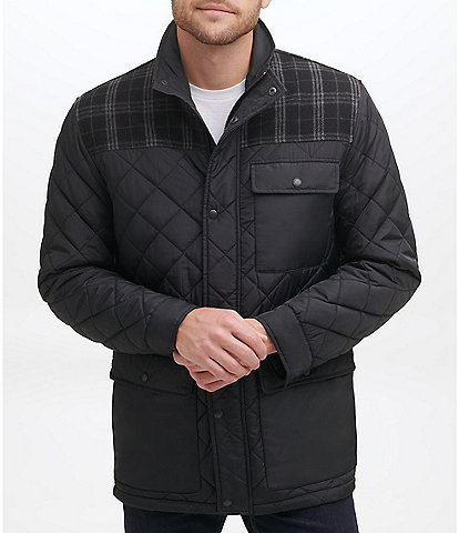 Cole Haan Long-Sleeve Diamond-Quilted Mixed-Media Jacket