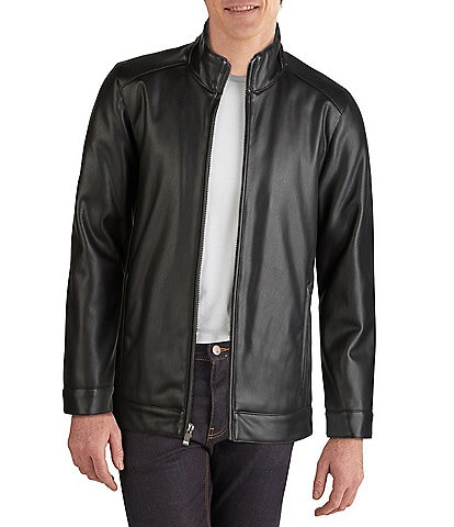 Cole Haan Long-Sleeve Faux-Leather Motorcycle Jacket