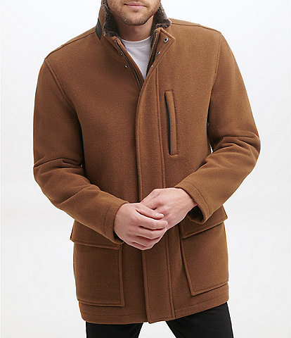 Cole Haan Long-Sleeve Wool-Blend Plush Car Coat