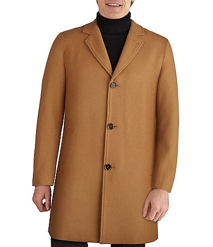 Cole Haan Melton Stand-Collar Button Front Wool-Blend Coat